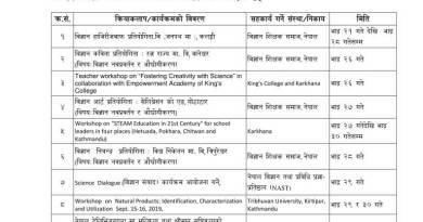 सातौँ 'राष्ट्रिय विज्ञान दिवस' २०७६ को सप्ताहव्यापी कार्यक्रमको तालिका