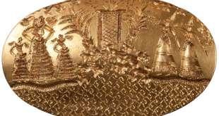 Zlatý pečetní prsten s bohyněmi, mykénské období. Kredit: University of Cincinnati