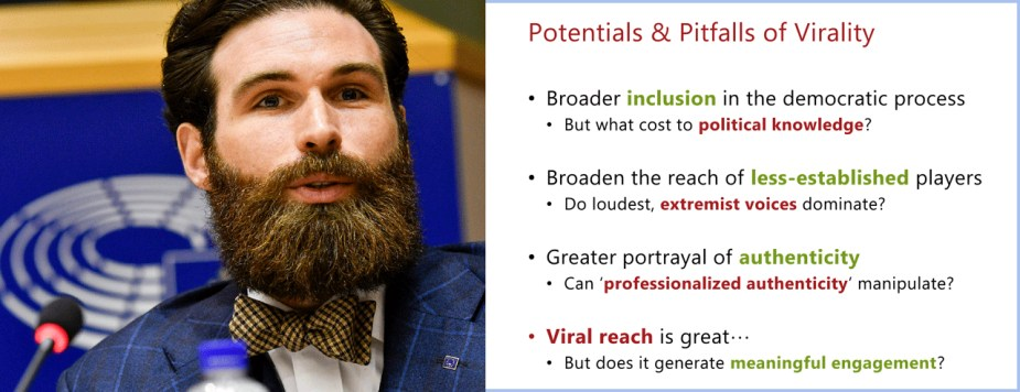 Michael Bossetta spoke about Virality on Social Media: Potentials &Pitfalls for Politics on the ESMH event on 3 April in EP