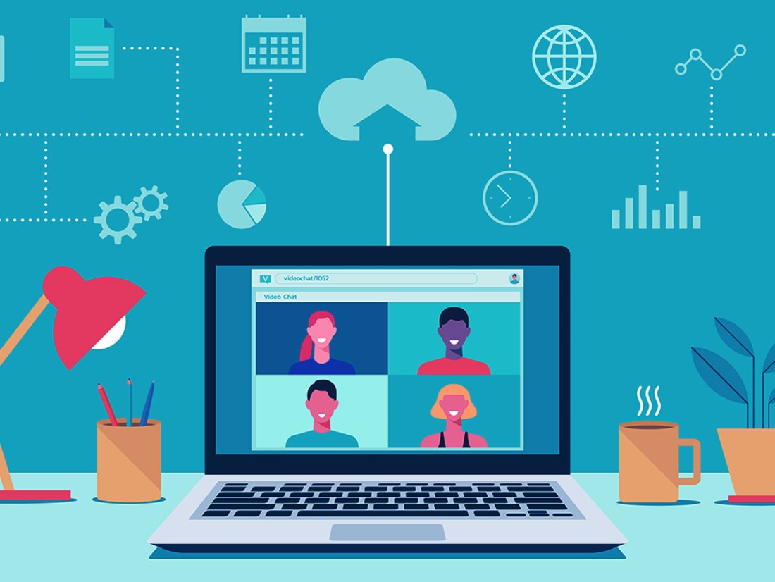 people connecting together, learning or meeting online with teleconference, video conference remote working, work from home, work from anywhere, new normal concept, vector flat illustration