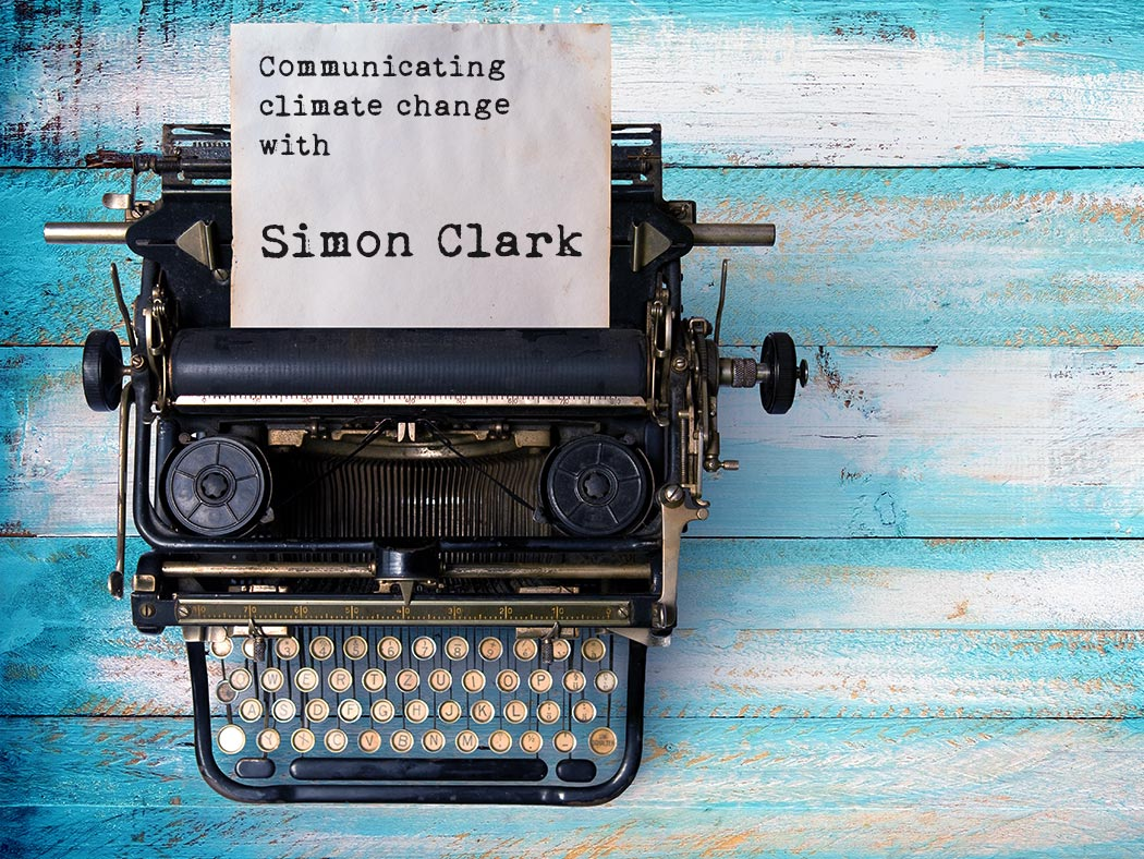 Simon Clark interview Vintage typewriter header with old paper. retro machine technology - top view and creative flat lay design