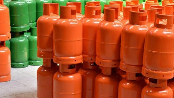 Liquefied petroleum gas cylinders.
