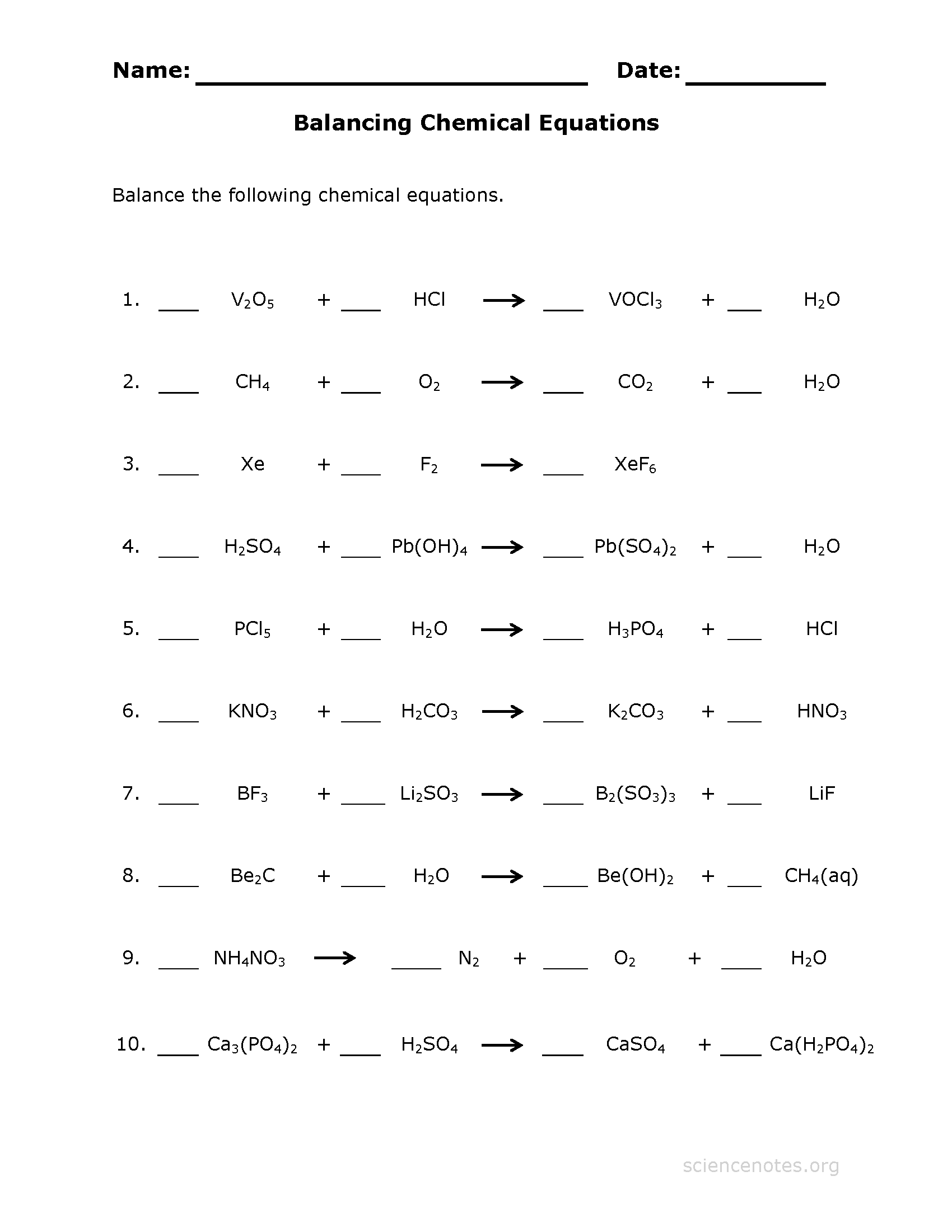 Identifying And Balancing Chemical Equations Worksheet