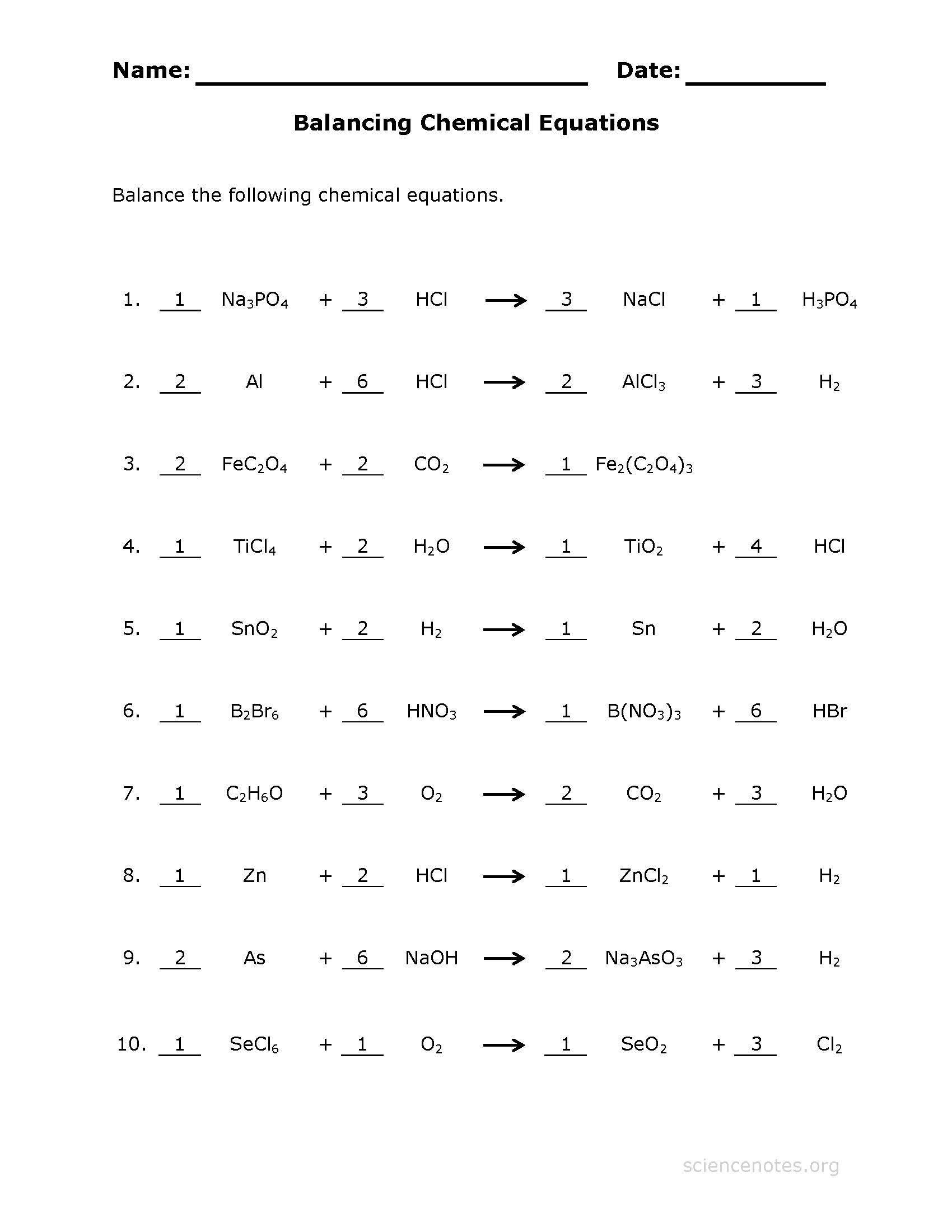 Balance Chemical Equations Worksheet 4 Key