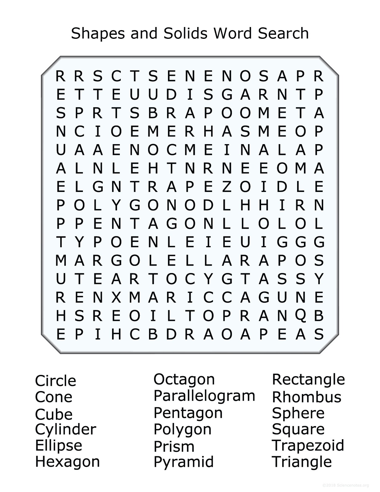 2d And 3d Shapes Word Search Puzzle
