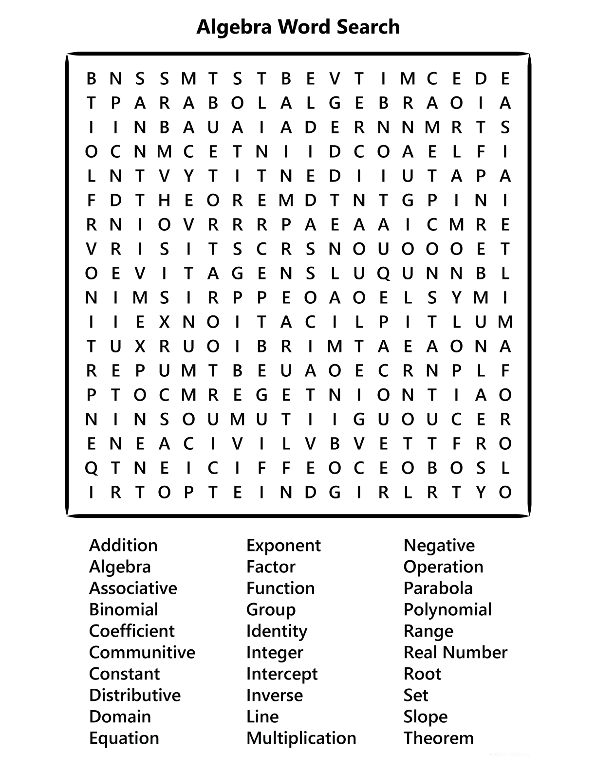 Algebra Word Search