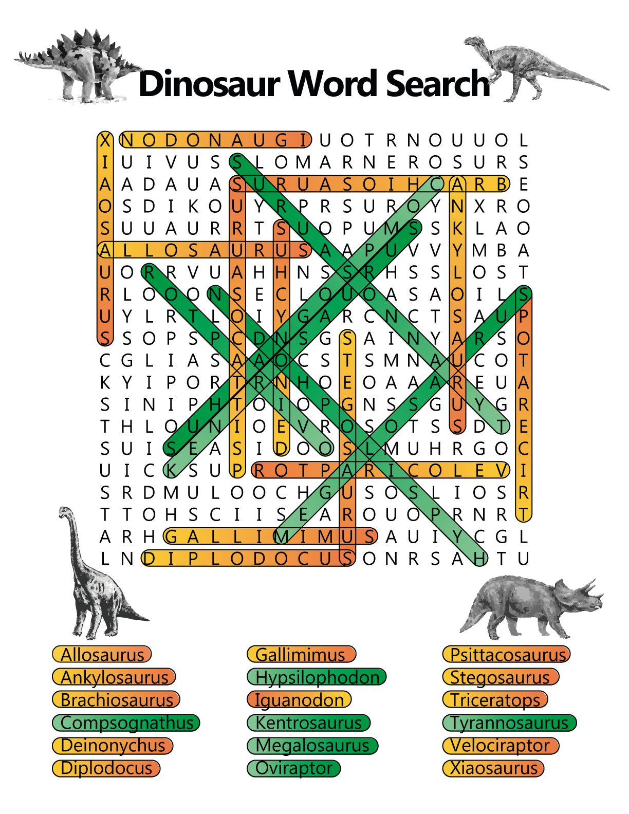 Dinosaurs Word Search