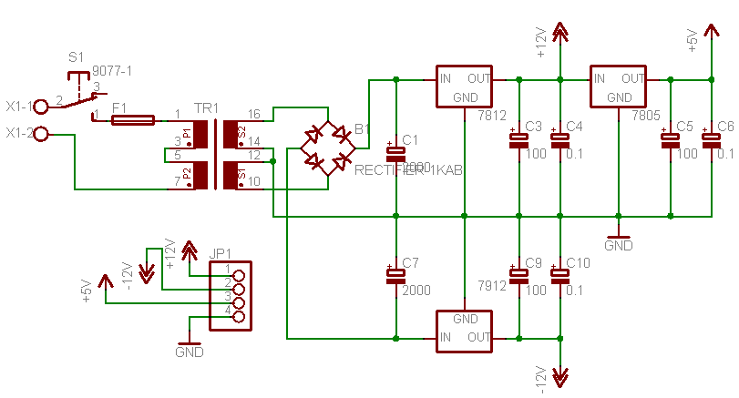 5V, 12v and -12V power supply circuit