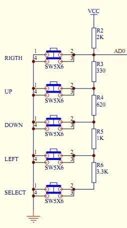 five buttons to single ADC pin