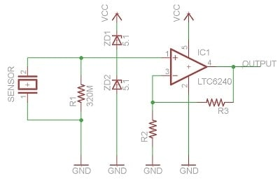 piezo sensor with zener protection