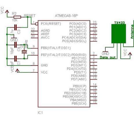 TX433 rf module interfaced to AVR Atmega