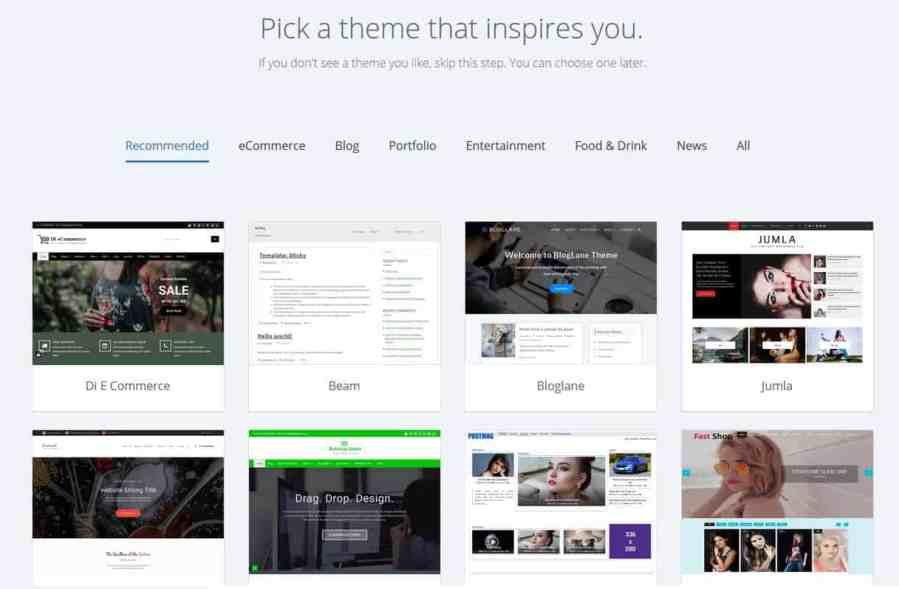 Select your website theme from the list