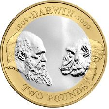 "The commemorative two pound coin produced for the bicentennial of Charles Darwin's birth in 2009. The edge inscription reads, ""ON THE ORIGIN OF SPECIES 1859""."