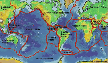 graphic showing tectonic plates and boundaries