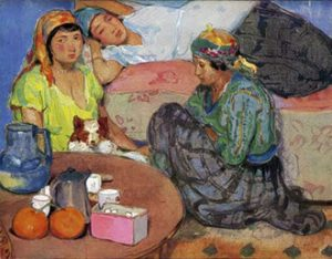 """1.""""Moorish Women at Home,"""" watercolor by Jean Bouchaud, L'Illustration, 4551 (May 24, 1930); special issue: L'Algérie 1830-1930."""