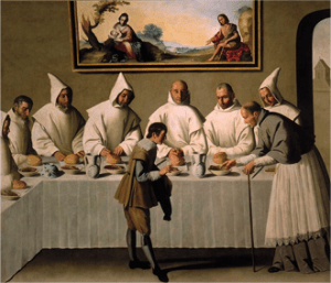 Francisco de Zurbarán, San Hugo en el refectorio de los Cartujos (St. Hugh in the Refectory of the Carthusians), 1655, oil on canvas, 262 cm × 307 cm, Seville, Museo de Bellas Artes