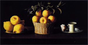 Francisco de Zurbarán, Bodegón con limones naranjas, una rosa y un vaso de agua (Still Life with Lemons, Oranges and a Rose), 1633, oil on canvas, 62.2 × 109.5 cm, Pasadena, Norton Simon Museum