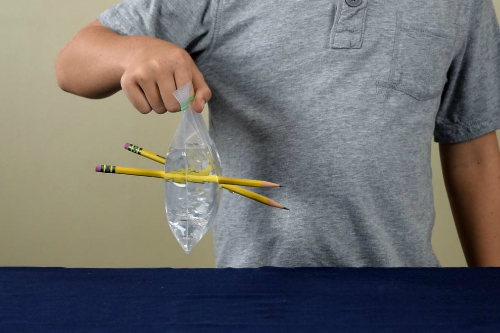 Poke Holes Water Doesnt Leak Step 4 Pencils through water bag science experiment- Cool activity