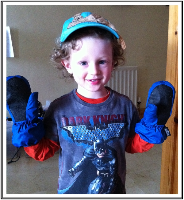 My nettle picking helper... complete with gloves!