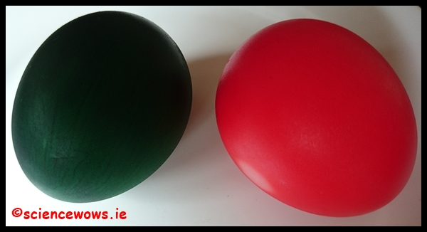 Two coloured eggs