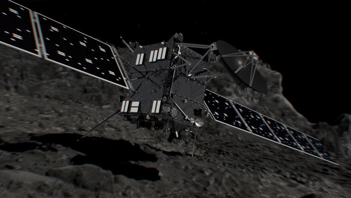 Artist's impression of Rosetta shortly before hitting Comet 67P/Churyumov--Gerasimenko on 30 September 2016. Credit: Copyright ESA/ATG medialab