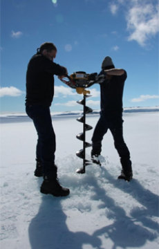 Researchers from the Sheffield-led team gathering data from the Antarctic ice sheet. Credit: Image courtesy of University of Sheffield