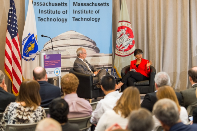 U.S. Secretary of Commerce Penny Pritzker and MIT President L. Rafael Reif discuss innovation and entrepreneurship at an event hosted by the MIT Innovation Initiative.