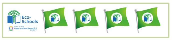 4 green ECO flags