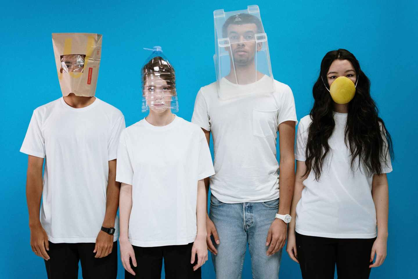 people wearing diy masks