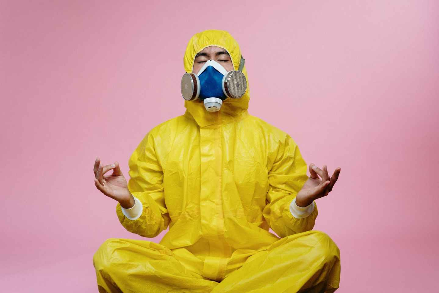 man in yellow protective suit