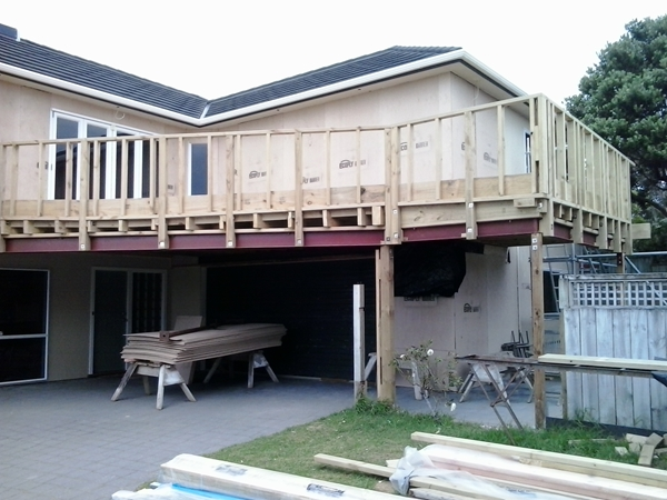 view of the new deck structure from the ground