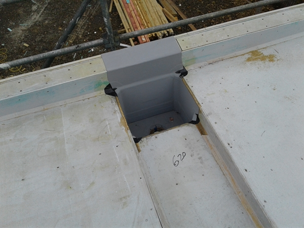 completed box outlet at end of internal gutter