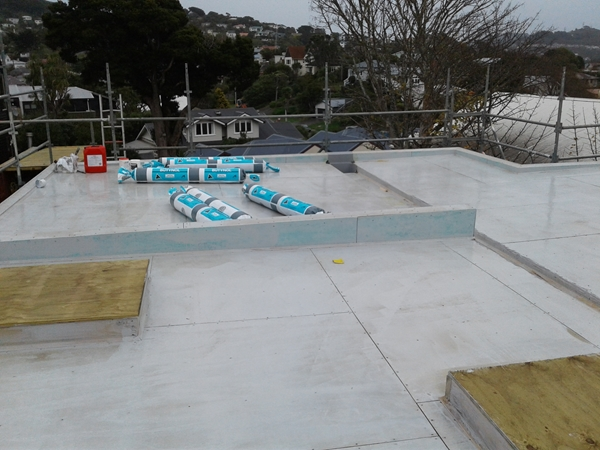 materials on roof, rained off 2pm