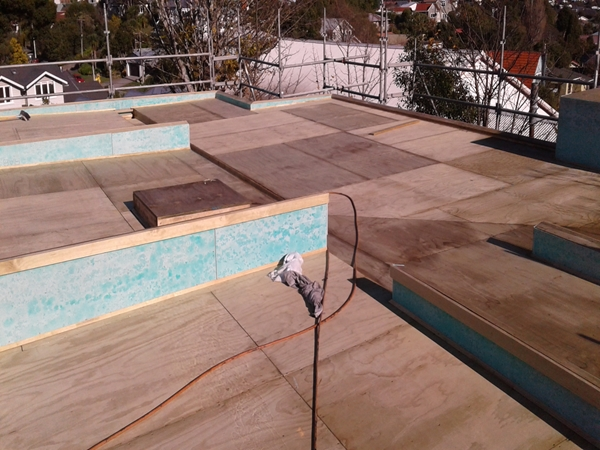 plywood substrate and raboard cement sheet vapour barrier on upstands