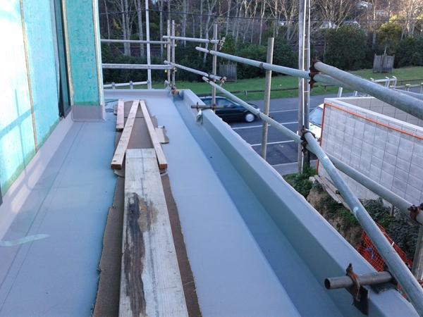 column upstand installed and scaffolding reinstalled