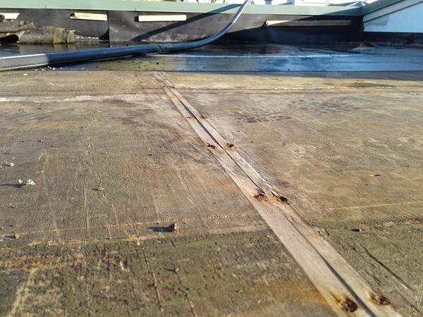rusty nails along plywood sheet joint