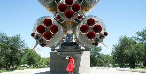 Nelly Ben Hayoun and the Soyuz Rocket at Baikonur Cosmodrome