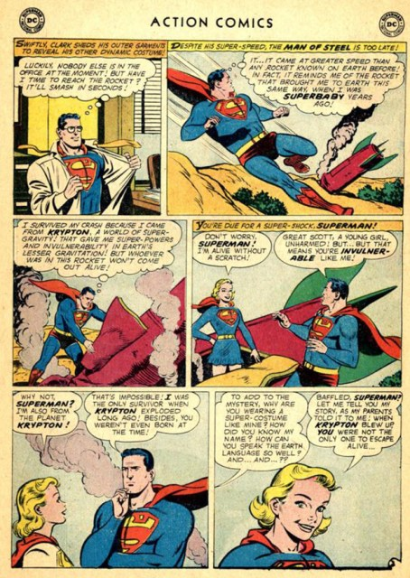 The first appearance of Supergirl, as drawn by Al Plastino.