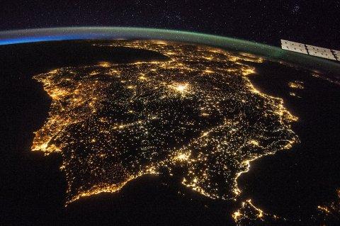The Iberian peninsula at night. Photo by NASA.