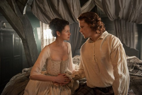 Caitriona Balfe and Sam Heugan as Claire Randall and Jamie Fraser in 'Outlander'.