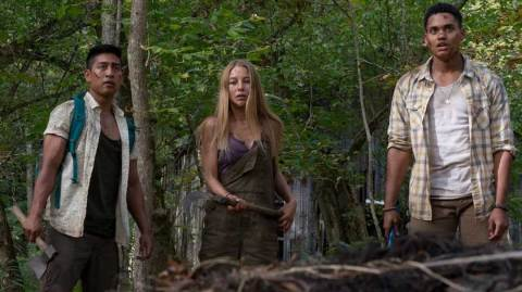 L-R: Adrian Favela as Luis, Charlotte Vega as Jen and Adain Bradley as Darius