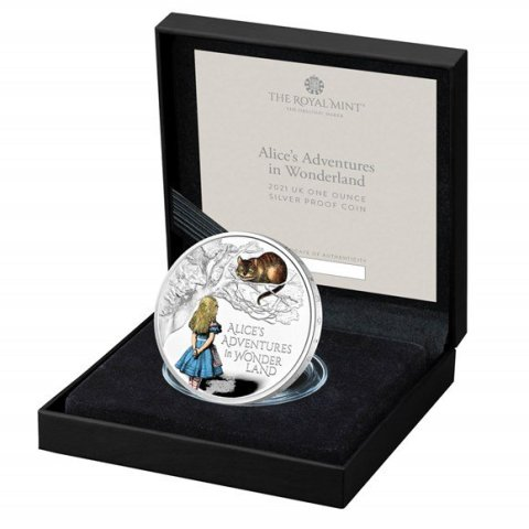 alices-adventures-in-wonderland-2021-uk-one-ounce-silver-proof-coin---coloured-printed-reverse-in-case-left