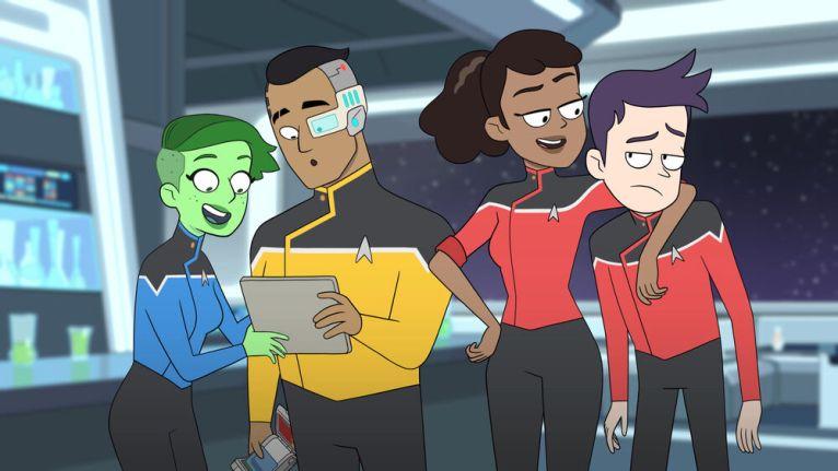 Ensigns D'Vana Tendi, Sam Rutherford, Beckett Mariner, Lieutenant Bradward Boimler  Star Trek: Lower Decks