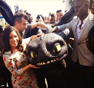 America Ferrera, Jay Baruchel, Djimon Hounsou, and Toothless walk the red carpet at Cannes.