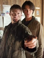 From Supernatural's pilot: Sam and muddy Dean check out their father's motel room.