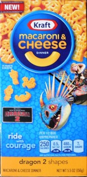 Astrid and Stormfly appear on a box of Kraft Macaroni & Cheese