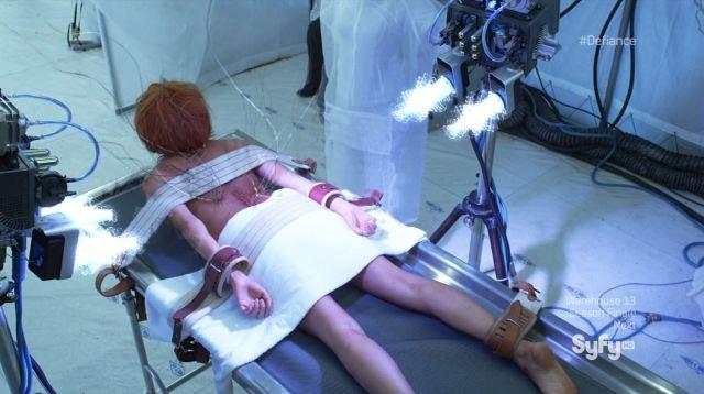 Defiance - Irisa (Stepahnie Leonidas) being tortured for the devices