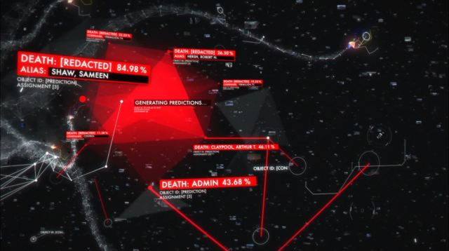 Person of Interest - Lethe - The Machines calculates Finch and Shaw's survival chances