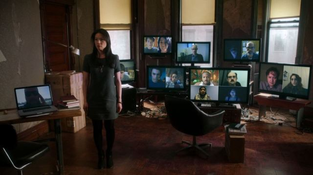 Elementary Season 2 The Grand Experiment Review - Lucy Lui in skirt dress as Watson protected by hackers