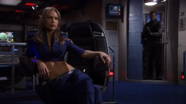 Enterprise - T'Pol in nude bare mid riff uniform
